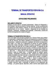 áreas terminal de transportes popayán sa