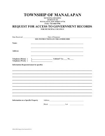 OPRA Request Form - Police Documents - City of Plainfield