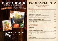 FOOD SPECIALS HAPPY HOUR - Ortega's Bistro