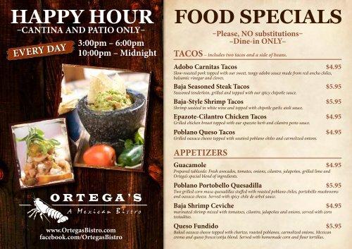 FOOD SPECIALS HAPPY HOUR - Ortega's Bistro