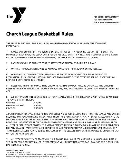 Church League Basketball Rules