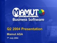 Company Presentation Eilert Hanoa CEO and founder - Mamut