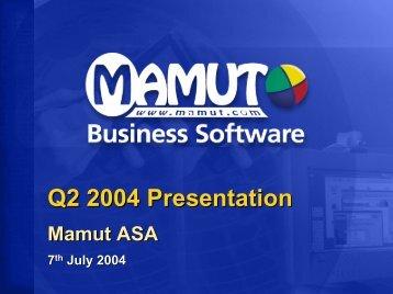 Company Presentation Eilert Hanoa CEO and founder - Mamut