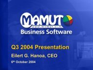 Q3 2004 Presentation Eilert G. Hanoa, CEO 6th October 2004 - Mamut