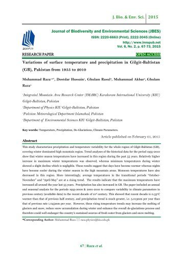 Variations of surface temperature and precipitation in Gilgit-Baltistan (GB), Pakistan from 1955 to 2010