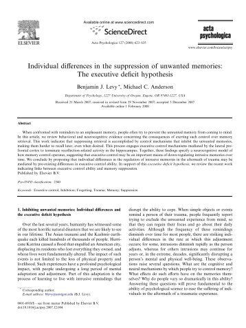 Individual differences in the suppression of unwanted memories ...