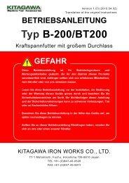 BETRIEBSANLEITUNG Typ B-200/BT200 - Kitagawa Europe