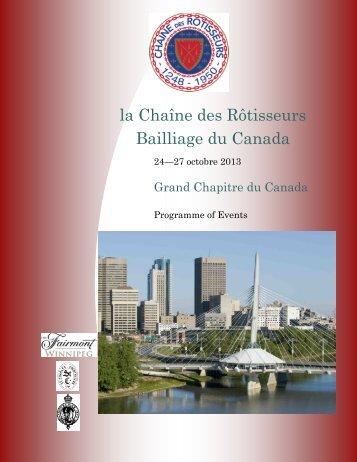 Programme of Events - Chaîne des Rôtisseurs