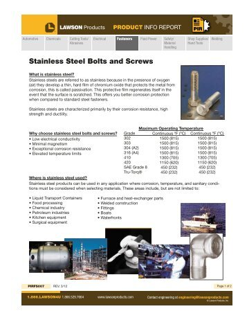 Stainless Steel Bolts and Screws - Lawson Products