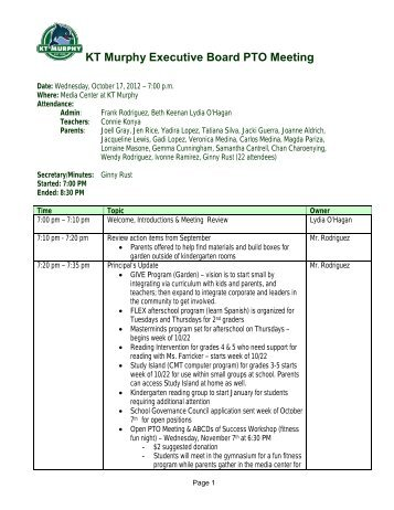 project meeting minutes template kt murphy elementary school