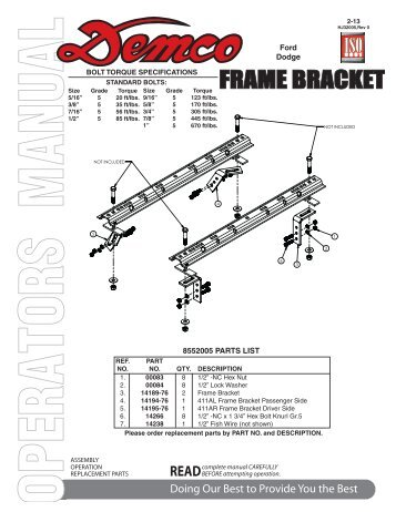 HJ32005 - 8552005 Frame Bracket - Demco Products