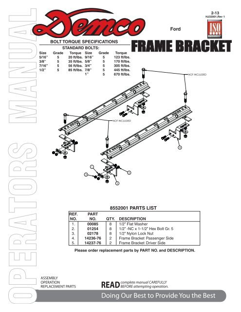 HJ32001 - 8552001 Frame Bracket - Demco Products