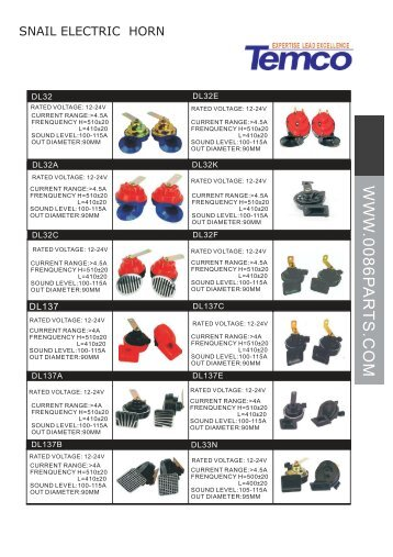 Auto Horn Catalogue - 0086parts.com 0086parts