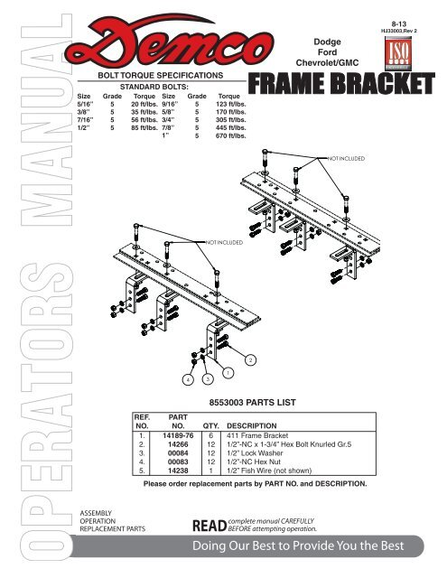 HJ33003 - 8553003 Frame Bracket - Demco Products