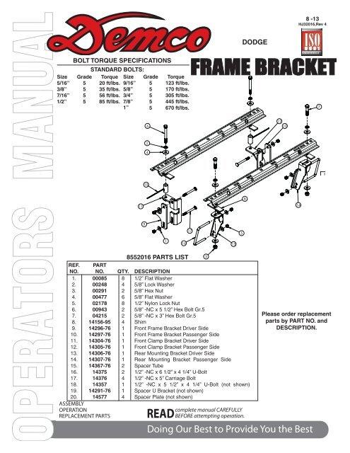 FRAME BRACKET - Demco Products