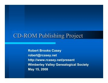 Wimberley CD-ROM Publishing Project - Rcasey.net