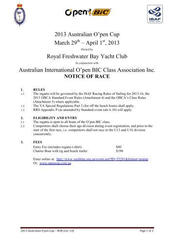 Notice of Race - Royal Freshwater Bay Yacht Club