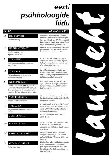2006 oktoober nr 42 - Eesti Psühholoogide Liit