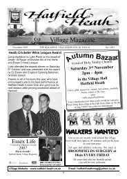 November2007 Edition - Hatfield Heath Village Magazine