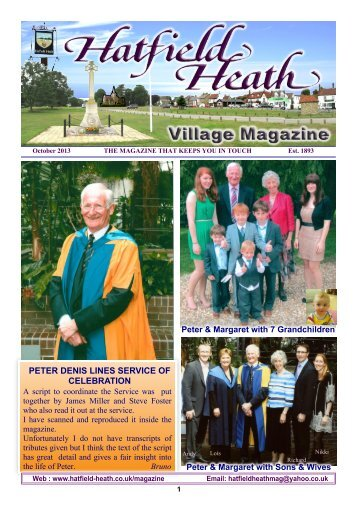 October2013 Edition - Hatfield Heath Village Magazine