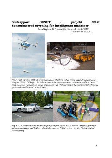 Sensorbaserad styrning för intelligenta maskiner - CENIIT