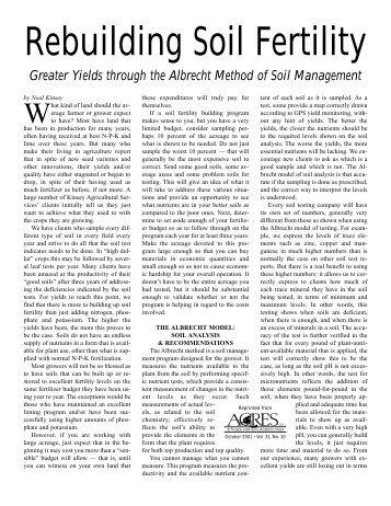 Rebuilding Soil Fertility - Acres USA