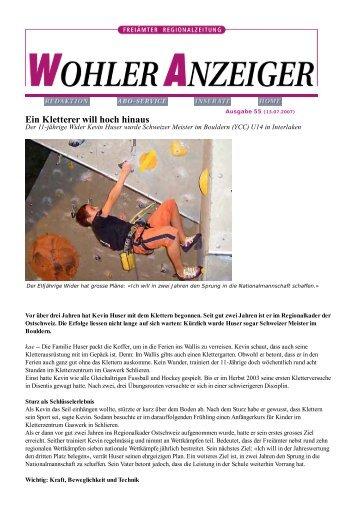 Reportage Bremgarter/Wohler Bezirks-Anzeiger 13.07 ... - Kevin Huser