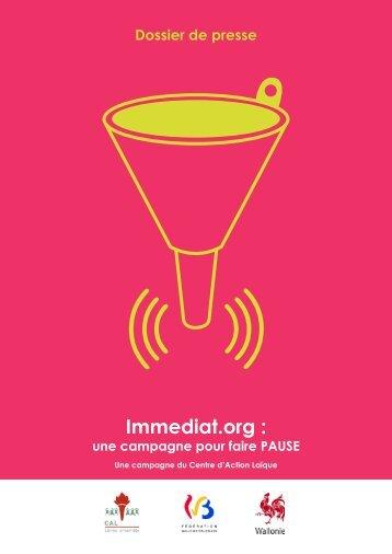 Dossier de presse Immediat.org - Centre d'Action Laïque