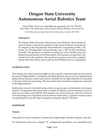 Oregon State University Autonomous Aerial Robotics Team