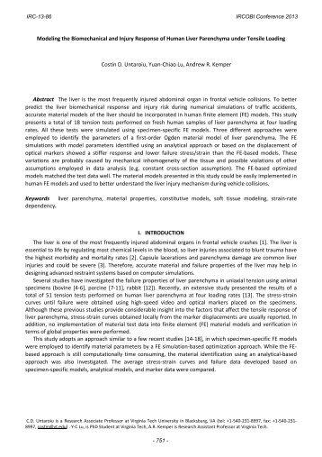 Modeling the Biomechanical and Injury Response of ... - IRCOBI