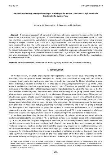 Traumatic Brain Injury Investigation Using FE Modeling of ... - IRCOBI