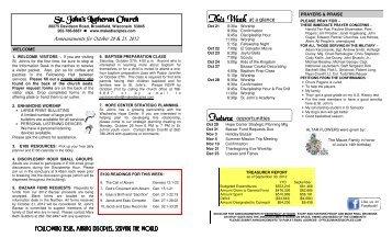 October 20-21, 2012 - St. John's Lutheran Church