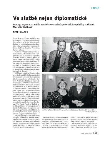Petr Blažek: Ve službě nejen diplomatické. Zemřela Markéta Fialková