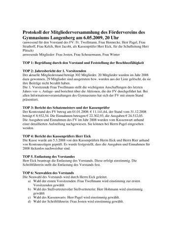 Protokoll der Mitgliederversammlung des Fördervereins des ...