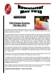 PSA Pamper Evening 10th May 2013 - Littleover Community School