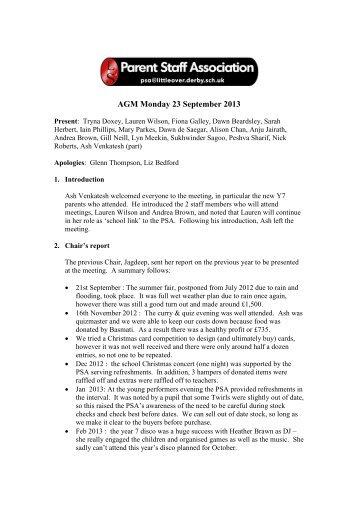 AGM Monday 23 September 2013 - Littleover Community School