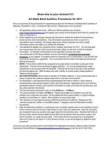 All-State Band Audition Procedures for 2011 - St. Louis Metro District ...