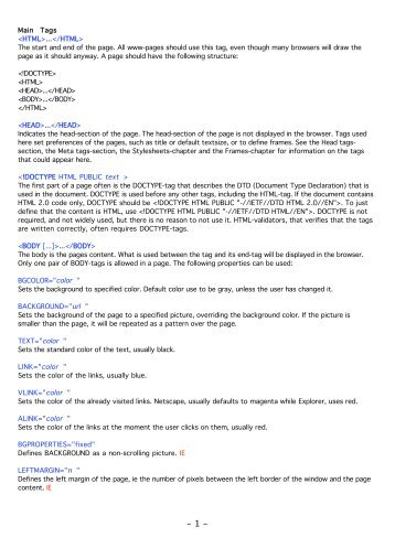 Main Tags <HTML>...</HTML> The start and end of the page. All ...