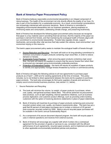 Bank of America Paper Procurement Policy