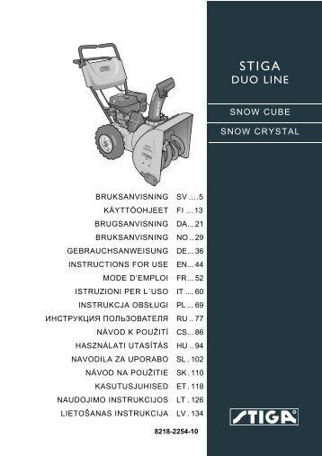 Инструкция по эксплуатации Stiga Snow Cube