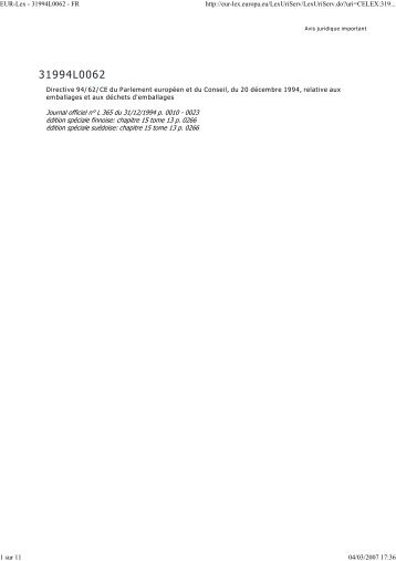 EUR-Lex - 31994L0062 - FR