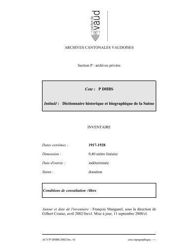 Dictionnaire historique et biographique de la Suisse
