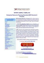 RFP/RFI SAMPLE TEMPLATE Enterprise Resource Planning ...