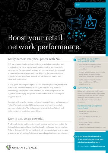 Boost your retail network performance. - Urban Science