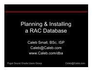 Planning & Installing a RAC Database - NoCOUG