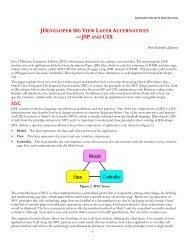jdeveloper 10g view layer alternatives —jsp uix - NoCOUG