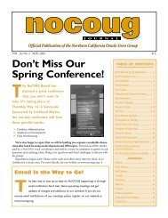 Don't Miss Our Spring Conference! - NoCOUG