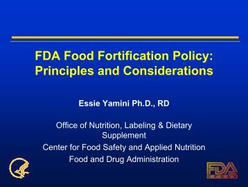 FDA Food Fortification Policy: Principles and Considerations