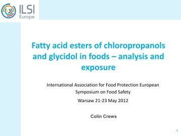 Fatty acid esters of chloropropanols and glycidol in foods