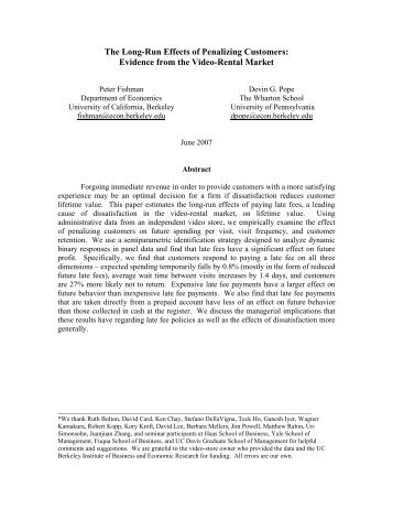 The Long-Run Effects of Penalizing Customers: Evidence from the ...